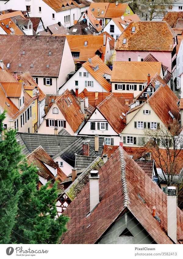 Old Town of Tübingen City Architecture Building Old town Old building Colour photo Travel photography Tourism Vacation & Travel Roof Facade Culture Historic,