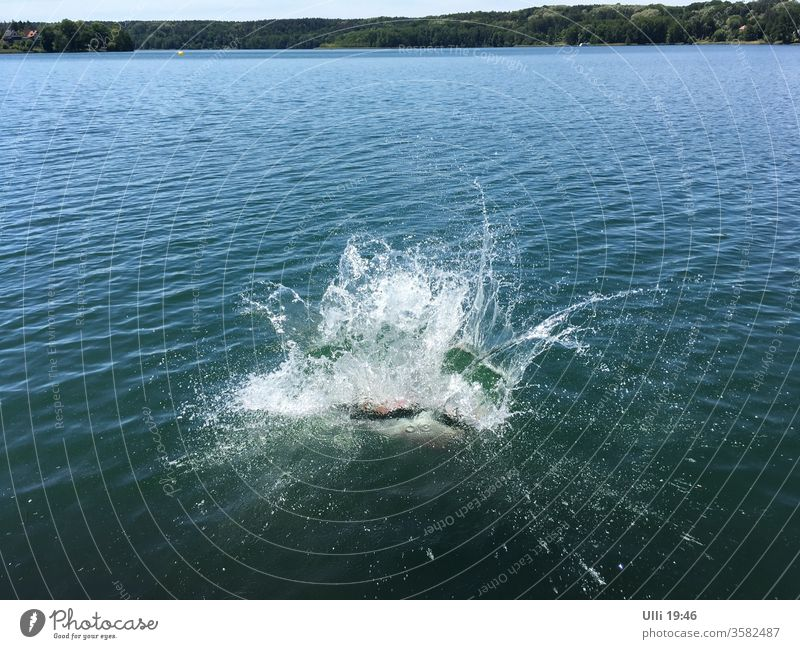 Jump into cold water (No.4) Jumping power Water Lake Brave courageous unrestrained ass bomb Swimming & Bathing Vacation & Travel Wet Joy Inject Head first Dive