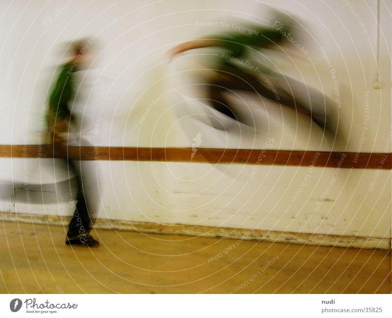 Man White Green Jump Movement