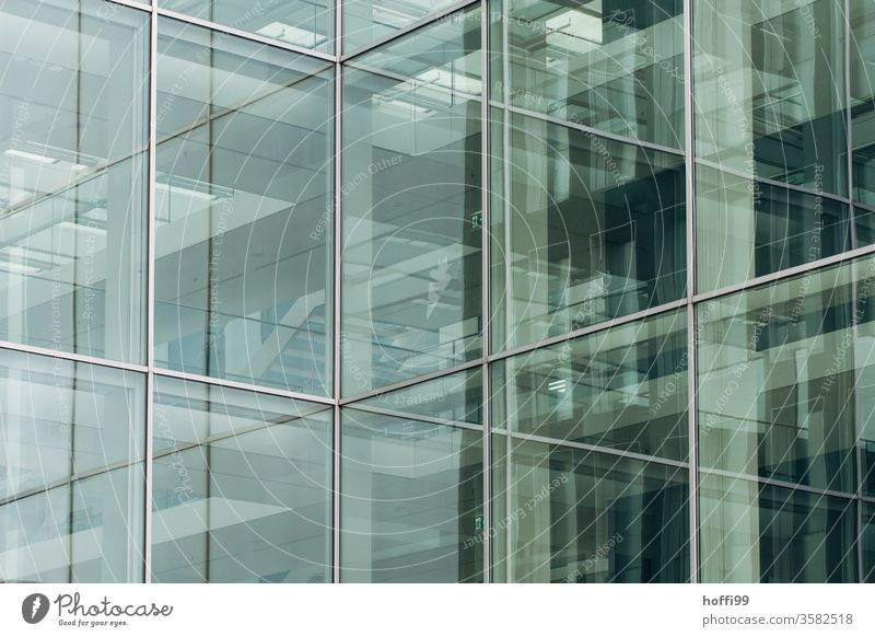 reflecting glass facade - aberrations in the urban jungle Glass Facade Reflection Complex Window Line Design High-rise Symmetry Abstract Modern architecture
