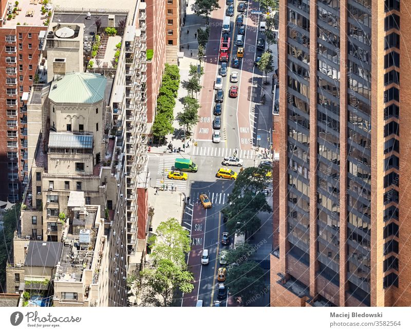 Aerial view of a street and buildings in downtown New York, USA. city traffic york new urban new york usa manhattan taxi car aerial america avenue crowded nyc