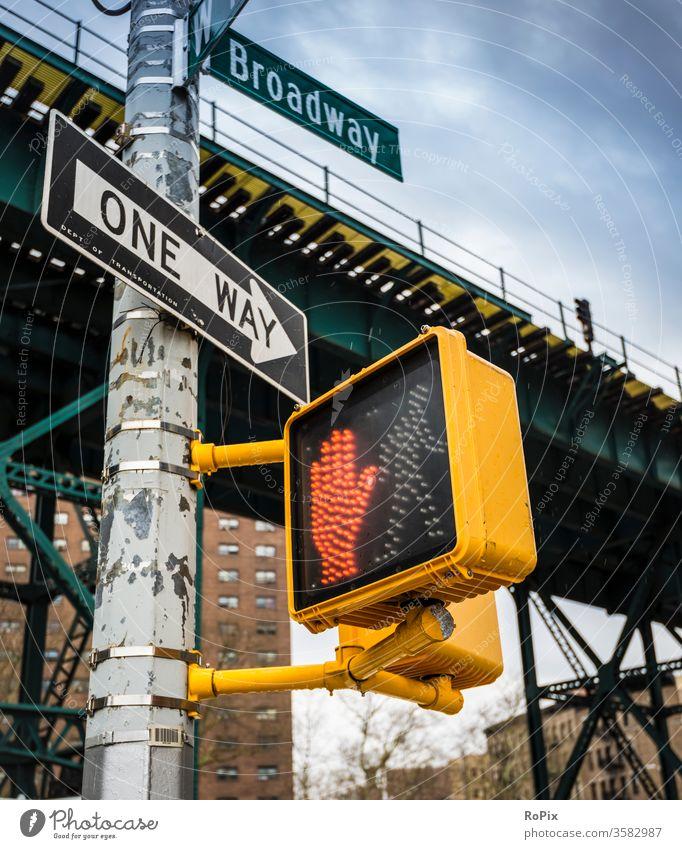 Traffic control in New York. Traffic light pedestrian Pedestrian traffic light Transport Town urban city views Pushing push Switch Pressure switch