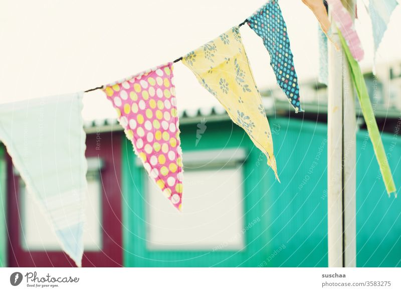 colourful fabric flags in the wind variegated Cloth pennant chain outdoor Decoration celebration Party Event Festive Flag