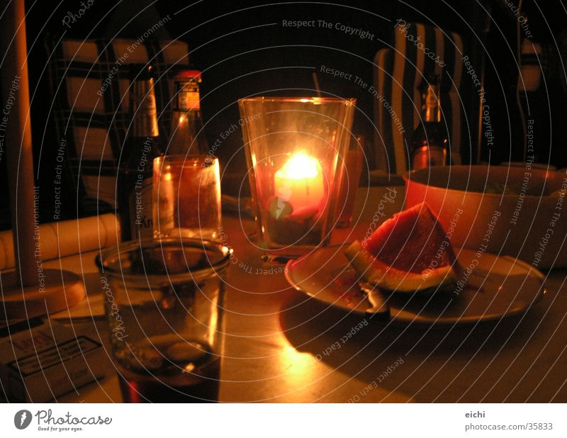 Wine merry! Barbecue (apparatus) Dark Beer Night Candle Candlelight Table partx Evening Glass