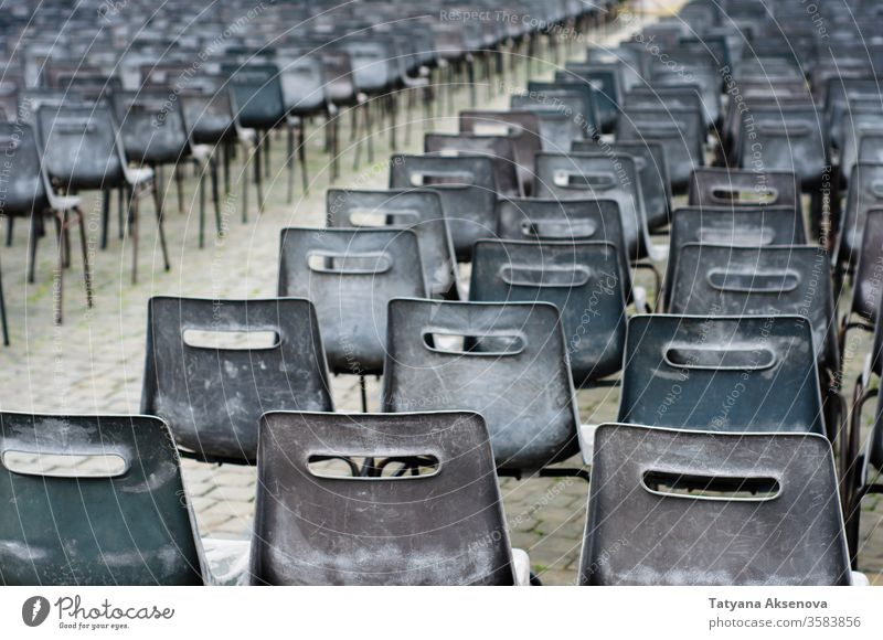A lot of empty chairs on Piazza San Pietro, Vatican nobody seats row vatican lockdown square audience conference event white design plastic gray absence seating