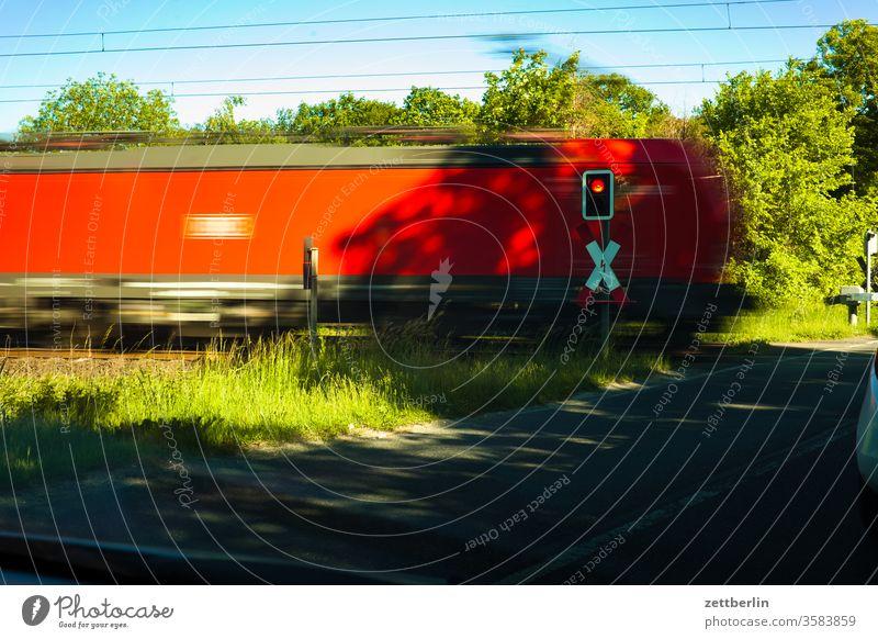 level crossing Track Railroad crossing passage einle. hektik Freight train logistics loc Engines swift speed Transport Provision railcar Train Haste Hectic