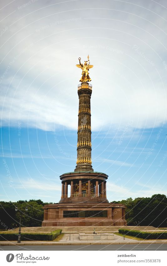 The Victory Column on the Great Star in the Great Tiergarten in Berlin Victory column Victoria Goldelse victory statue big star leaf gold Monument Germany