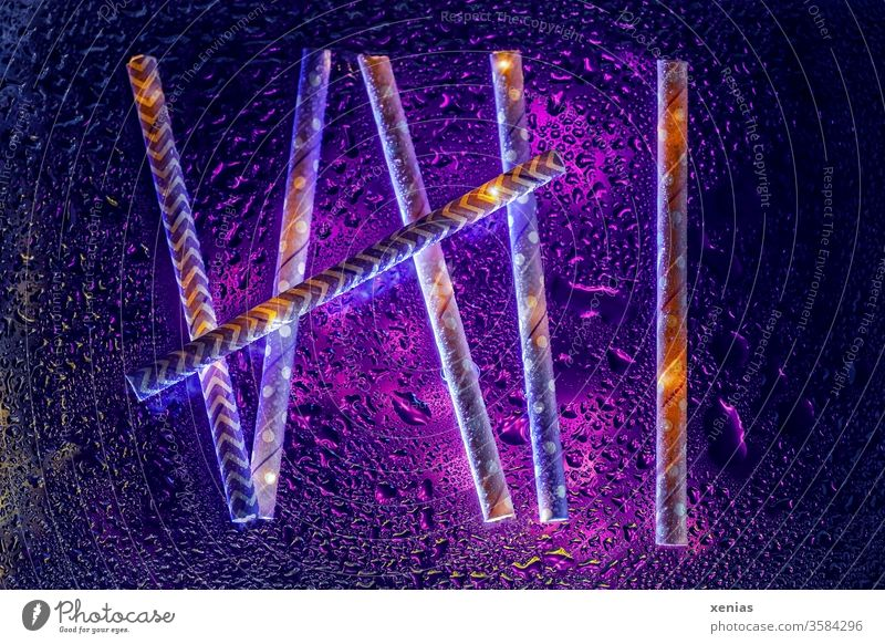 Six - Paper drinking straws with violet illumination and water drops six 6 Drinking straws Water Drops of water Abstract Violet Wet Fluid purple