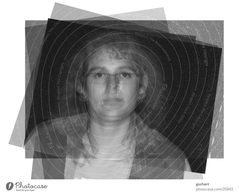 multi-layered Black White Positive Portrait photograph Human being Black & white photo superimposed