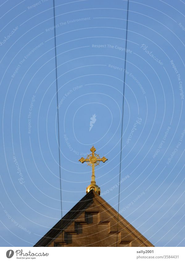 a direct line to the top... Crucifix symbol Church Christianity Catholicism religion Christian cross Religion and faith God Prayer Wire Transmission lines