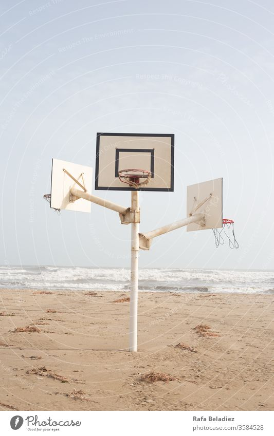 Basketball court in the middle of the beach Nature Sand Beach Minimalism Ocean Water Sun Sport