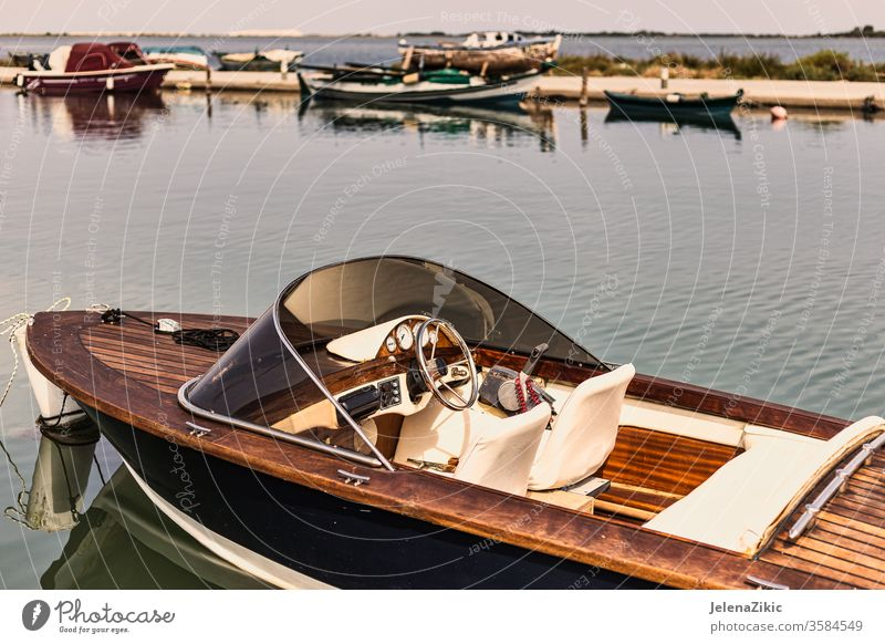 Boat in retro style old vintage design speed beautiful dashboard transportation boat classic background wooden travel nautical water speedboat technology