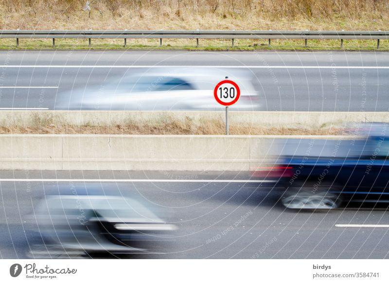 Speed 130 on German motorways, general speed limit, speed limit sign 130 on motorways, moving traffic 130 km/h tempolimit Speed limit Highway Transport cars Car