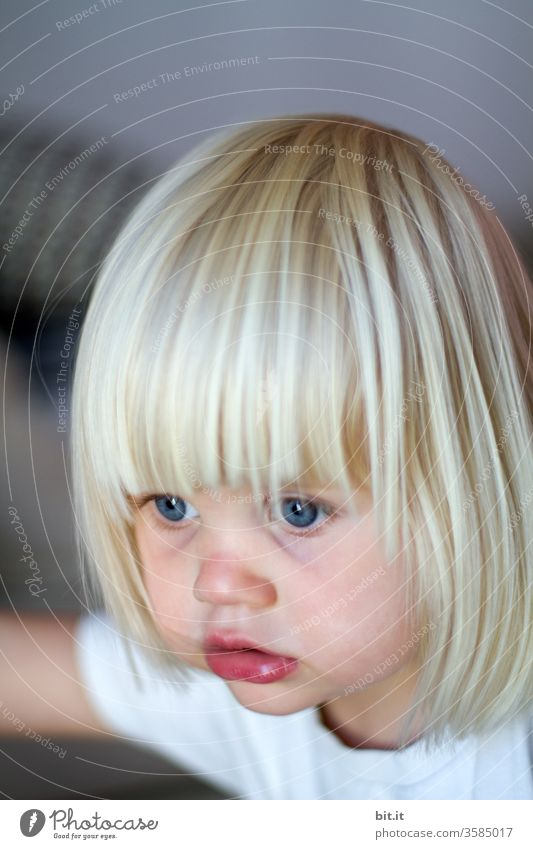 girl Child Small Toddler Blonde Infancy Laughter portrait Playing Joy 1 - 3 years Cute smile astonished Surprise Caution cautious Curiosity inquisitorial Marvel