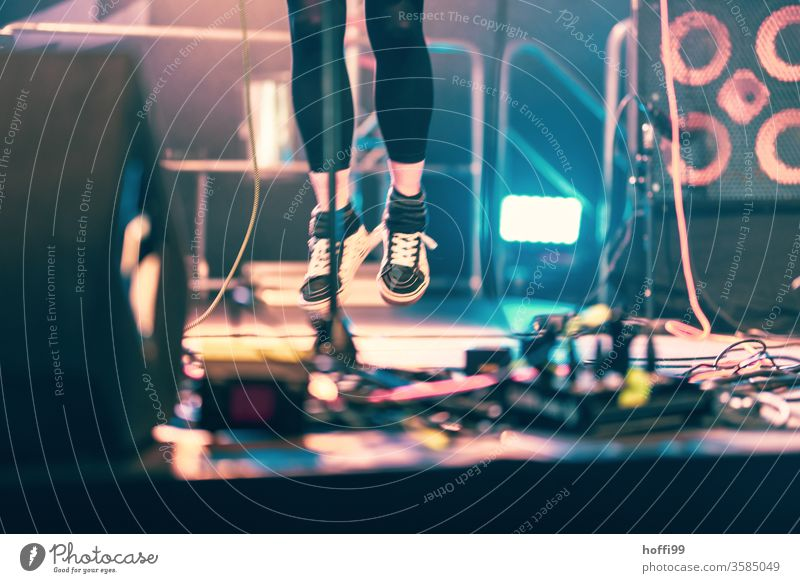 Jump on the stage - Festival ! Concert Stage joyful leap Jumping power Stage lighting Music Light Shows Floodlight Event Silhouette Colour photo