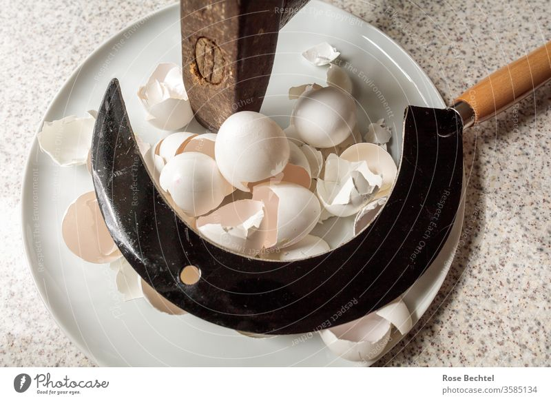 Hammer and sickle on a plate with egg shells Eggshell Plate object of desire hammer and sickle Tool Symbols and metaphors Shatter Colour photo Brown Metal