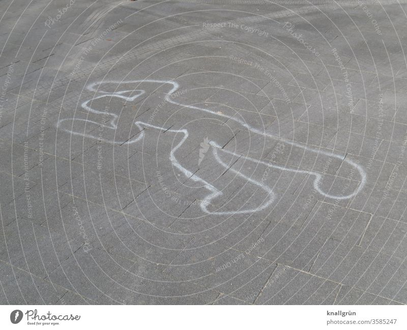 Chalk outline drawing for forensics at a crime scene Silhouette Contour Crime scene Murder Chalk drawing Death Criminality Corpse Human being Sacrifice Street