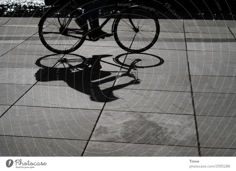 Shadow image of cyclists on the Spree black-white Black and white photography Bicycle Cycling tour Light and shadow bike tour Leisure and hobbies