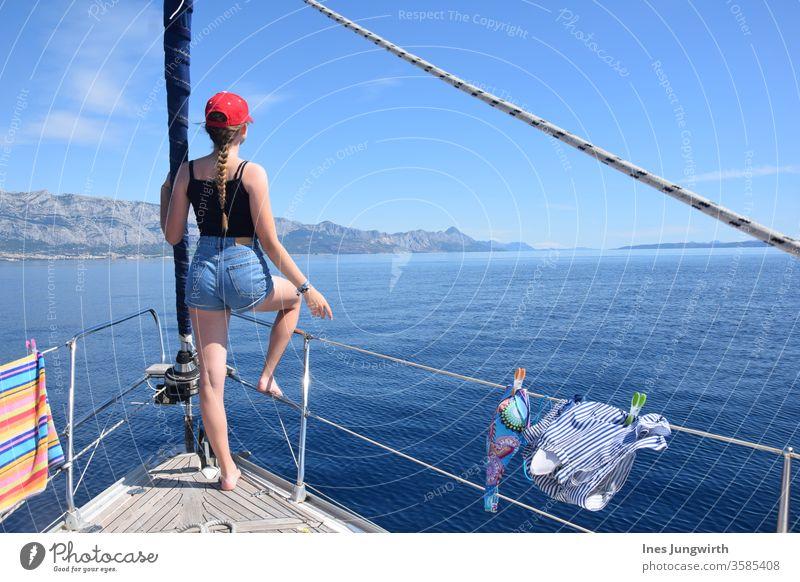Full ahead! Croatia Ocean Sister Blonde blonde hair hair in the wind Hair and hairstyles Tourism already Calm Mediterranean Horizon Vantage point Exterior shot