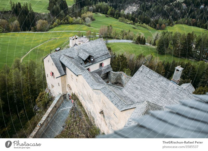 Castle from above with forest in the background Lock tarasp Scuol built Forest Colour photo Architecture Tourist Attraction Manmade structures Historic Landmark