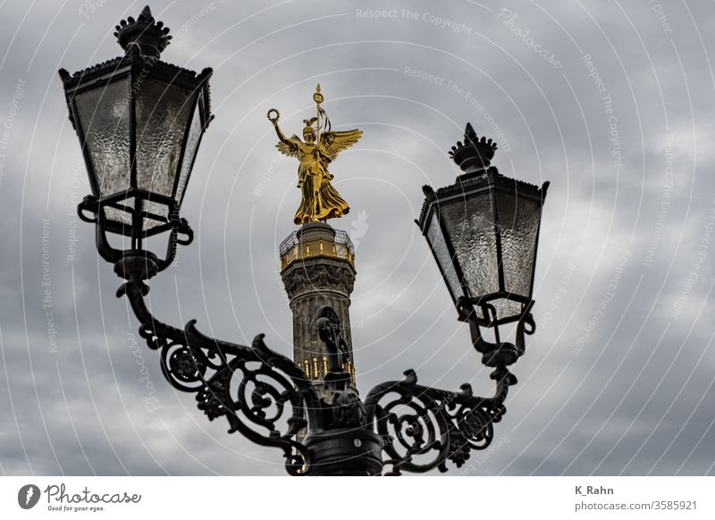 Victory column in Berlin with lantern victory monument animal park Monument Statues columns Victoria get Sculpture Lamp Lantern Prussia Prussian Capital city