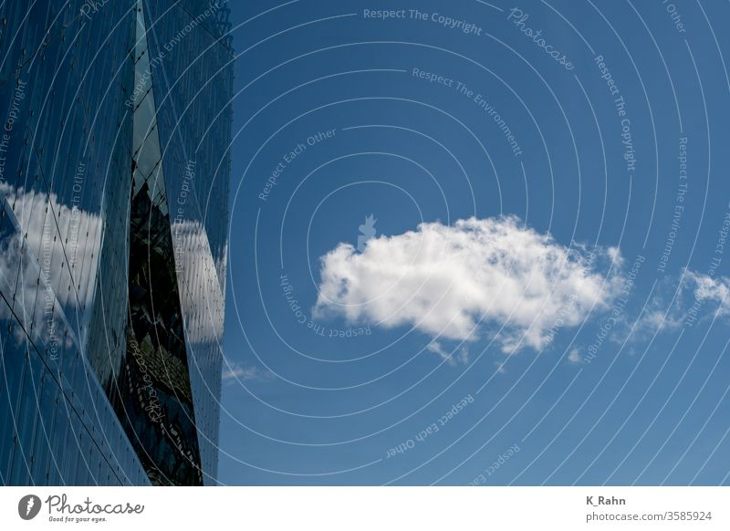 Clouds reflected in glass facade Architecture Blue built Glass House (Residential Structure) office Concrete Sky Business Window Tall Industry Construction