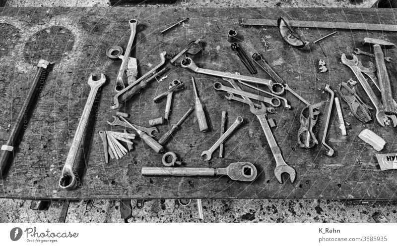 Old tools Screwdriver equipment Pair of pliers work Construction Metal set Steel hammer Repair object Toolbox Screw wrench Industry Hardware Mechanic