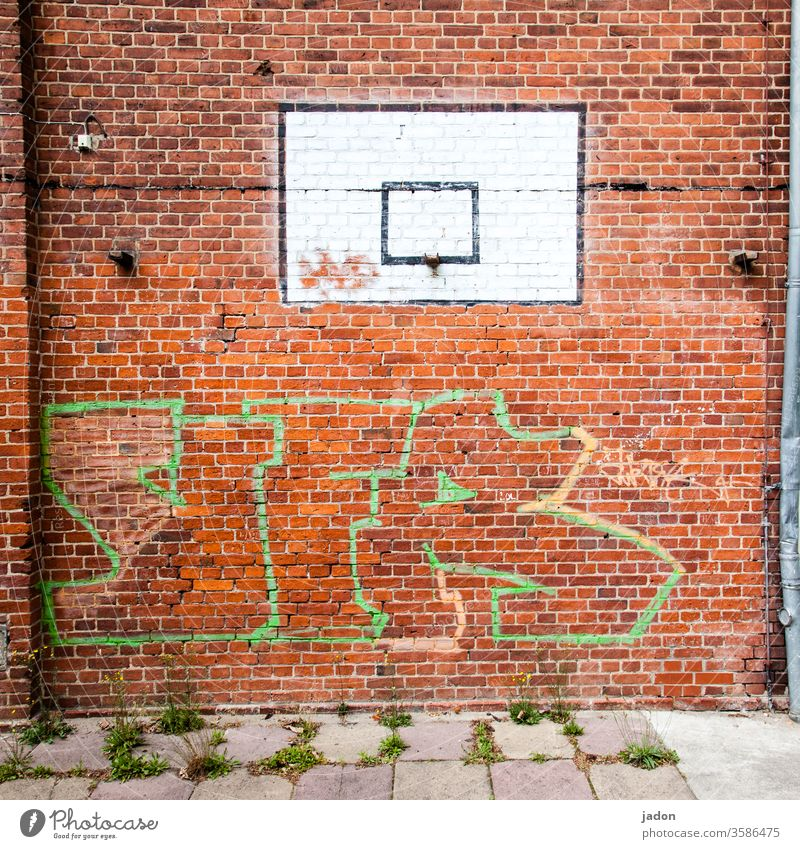 ghost play. Wall (building) Basketball Red Ball sports White Basketball basket Deserted Colour photo Sports Playing Leisure and hobbies Graffiti brick Frame