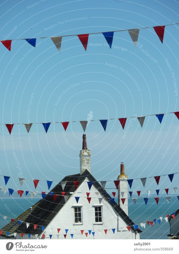 celebration flags... Summer House (Residential Structure) Feasts & Celebrations Fairs & Carnivals Party Village fair Fishing village Window Roof Hang Authentic