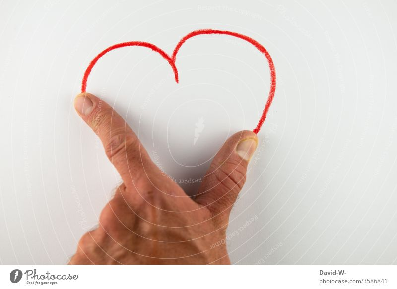 heart by hand Heart visualization Paper Drawing Art manner creatively Creativity half Red Sincere Help helping assisting Heart-shaped Warmest congratulations