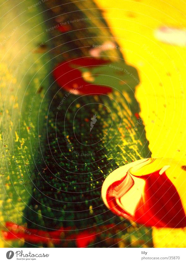 Acrylic Blob #2 Acrylic paint Painting and drawing (object) Red Yellow Green Patch Patch of colour Multicoloured Macro (Extreme close-up) Close-up