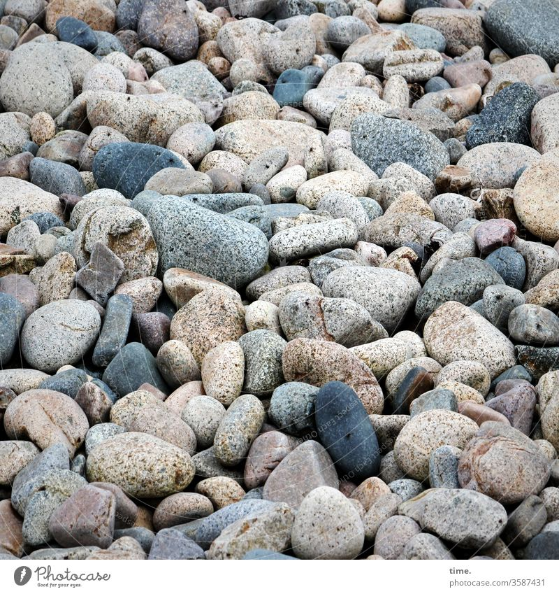 beach cover Surface Gravel stones Beach Coast Baltic Sea a lot disparate miscellaneous Many in common at the same time variegated harsh individual element