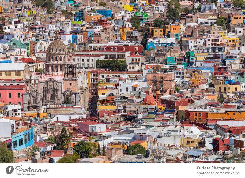 Guanajuato City historic center. Colorful homes built on hillside. Guanajuato State, Mexico. guanajuato mexico city unesco america architecture art building