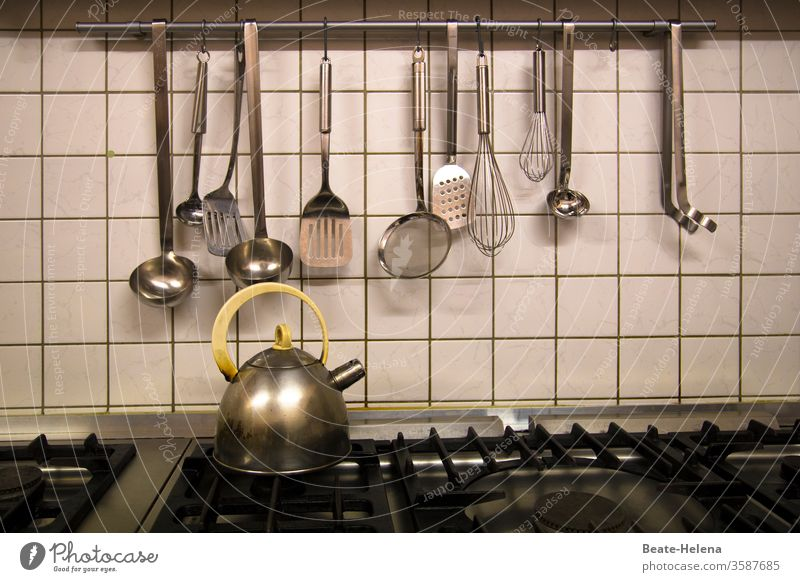 Dinner will be ready in a minute: Stove and kitchen utensils are ready! Kitchen Ladle Electric kettle Gas stove canteen kitchen Eating boil Stove & Oven