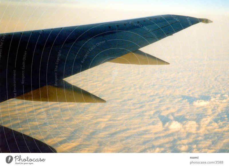 Sun Clouds Above Airplane Flying Tall Wing