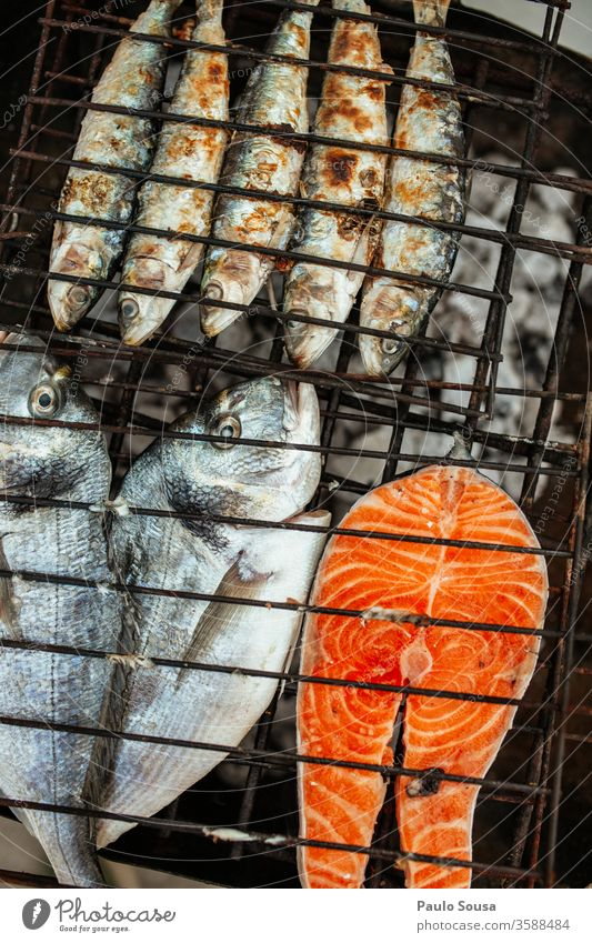 Grilled fish Sardine sardines Sea bream Salmon Fish Food Barbecue (apparatus) Barbecue (event) grilled Healthy Healthy Eating Nutrition Charcoal (cooking)