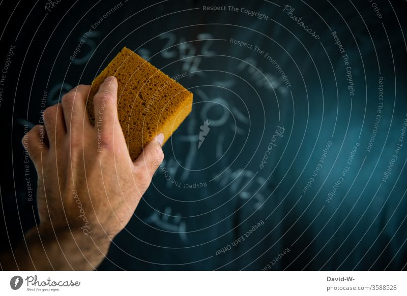 Hand holding a blackboard sponge Sponge Blackboard Chalk School Result solution False Academic studies Mathematics Lessons Education Study Classroom