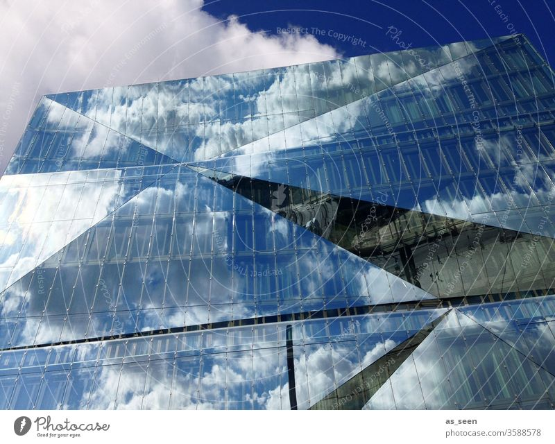 Cube Berlin Tourist Attraction reflection Architecture Train station Modern Glass Facade built Sky Blue Clouds House (Residential Structure) Reflection