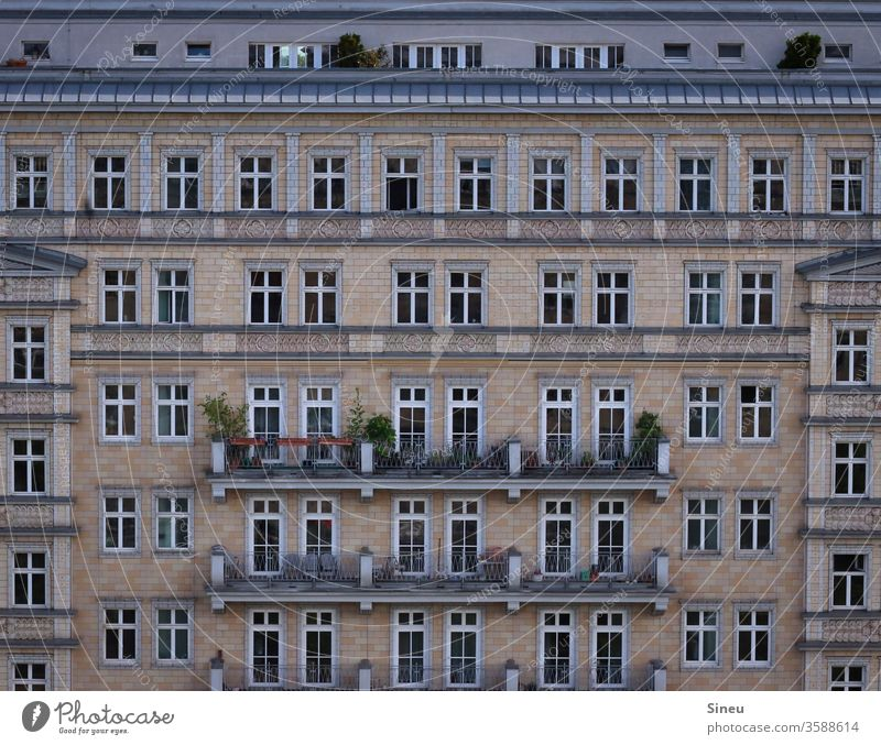 Window to the street Facade House front Apartment house tenement houses Balconies Roof terrace Summer Apartment Building Town City Karl-Marx-Allee Berlin