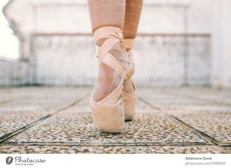 Ballerina in pointe shoes on street ballerina woman dancer weathered talent position perform female stone elegant shabby balance grace tiptoe posture slim lady