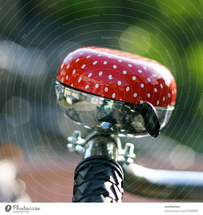 °°°°° Cycling Bicycle Nature Summer Garden Park Means of transport Street Bicycle bell Metal Steel Plastic Spotted Pattern Driving Happiness Hip & trendy
