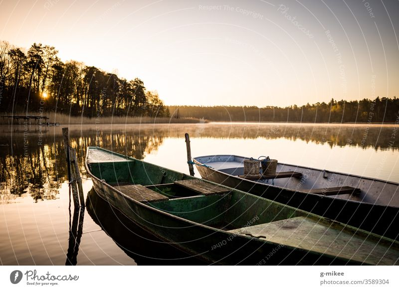 Boats on the lake at sunrise Schorfheide Lake Sunrise boats Morning tranquillity Water silent reflection Peace Landscape Nature Vacation & Travel Exterior shot