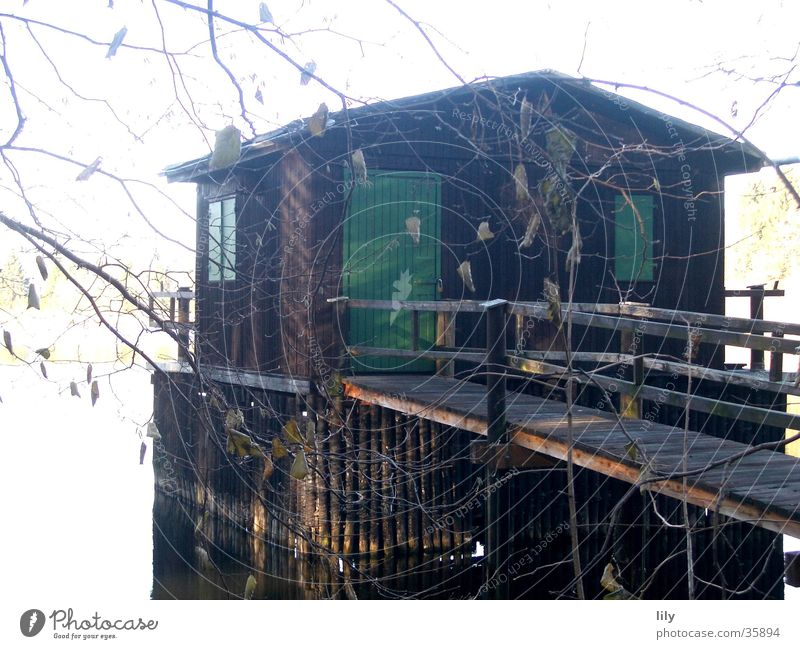 floating house House (Residential Structure) Lake Fishing (Angle) November Green Footbridge Mysterious Eerie Historic fishing hut Water