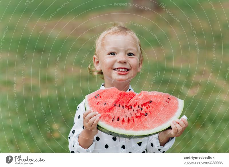cute little girl eating big piece of watermelon on the grass in summertime. Adorable little girl playing in the garden biting a slice of watermelon. selective focus.