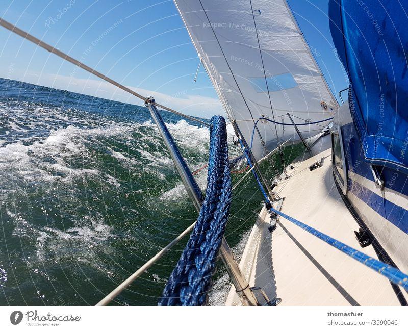 sailboat sailing on the sea, spray, sailing sun Sailboat seafaring Baltic Sea Water Sky Ocean Vacation & Travel Freedom Adventure Yacht Sailing ship