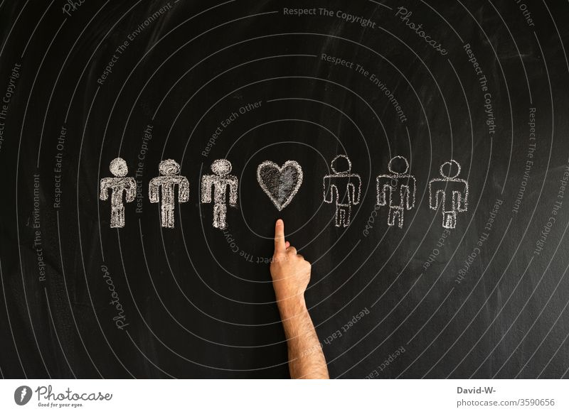 white and coloured people connected with a heart Racism White colored racist Friends Brother Stick figure Friendship Human being equality Equal Equality Love