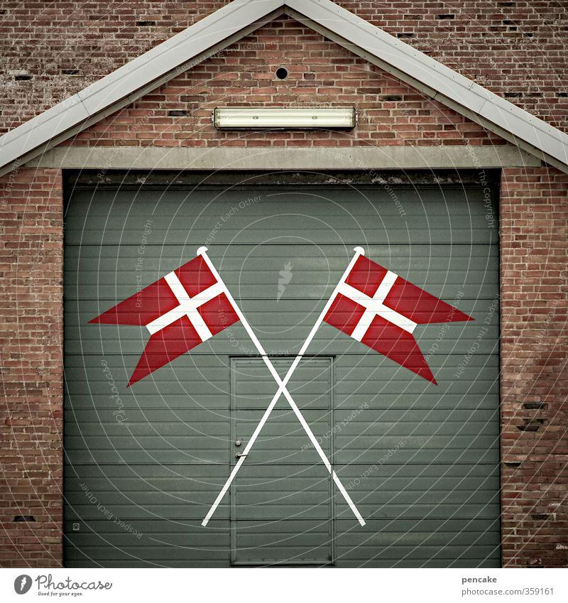 Rømø Dannebrog. Culture Denmark Village Port City Gate Building Facade Door Sign Flag Resolve Fairness Independence Reliability Safety Attachment Indicate Cross