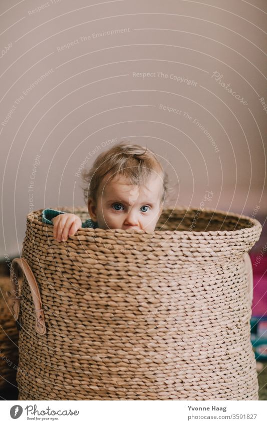 Baby view from a basket laughing child Laughter little child little boy little girl Brilliant hiding Hide Relaxation Parenting Childhood memory Infancy Moody