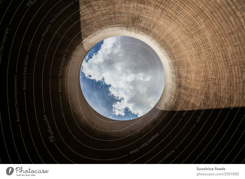 View up a coal burning power plant cooling tower fossil fuel global warming electricity plant energy abstract air pollution atmosphere power generation