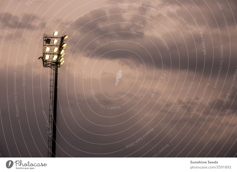 Bright sports stadium lights on a cloudy evening sports field floodlight silhouette illuminate shine light bulb bright storm stormy storm clouds grounds